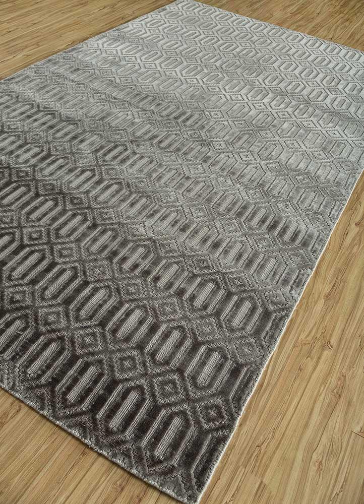 oxford grey and black viscose hand loom Rug - FloorShot