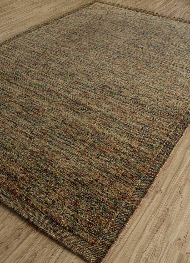 eron gold wool hand loom Rug - FloorShot