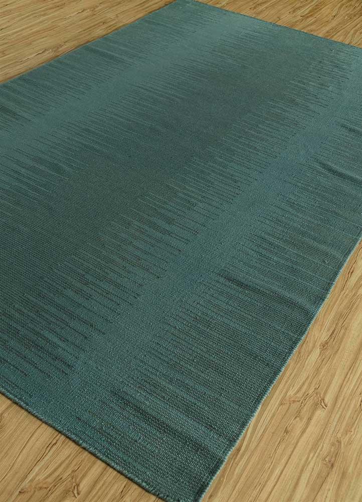 abrash blue wool flat weaves Rug - FloorShot
