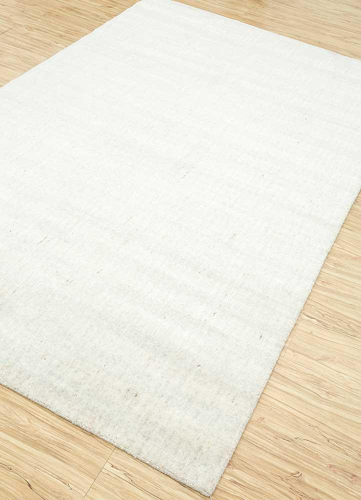 basis ivory wool and viscose hand loom Rug - FloorShot