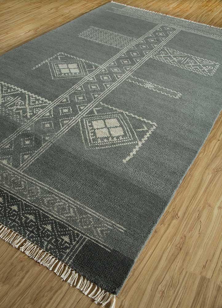 viscaya grey and black wool hand knotted Rug - FloorShot