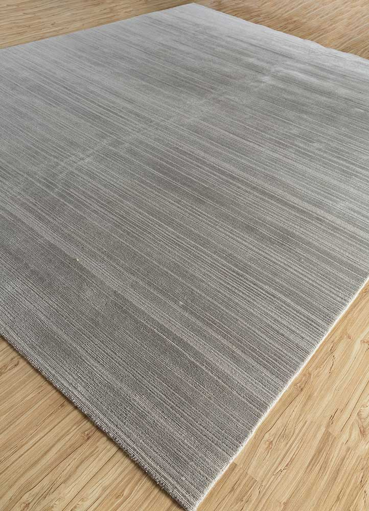 legion grey and black wool and bamboo silk hand knotted Rug - FloorShot