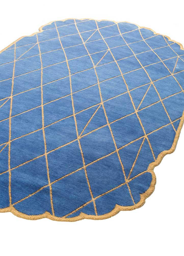 jaipur wunderkammer blue wool and bamboo silk hand knotted Rug - FloorShot