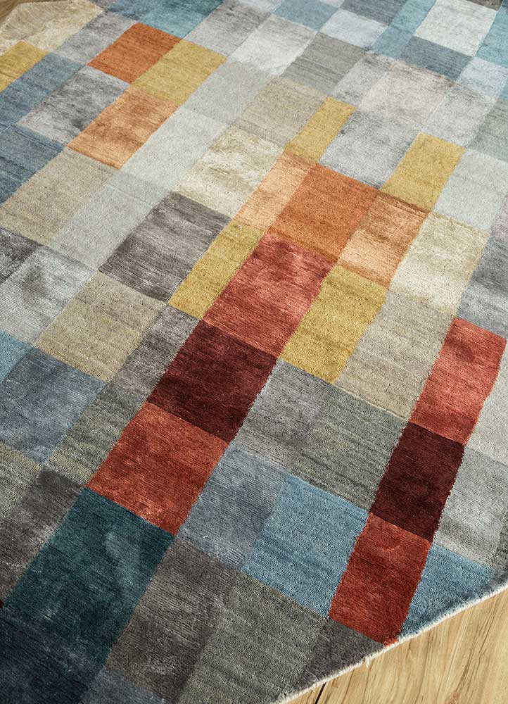 aakar by kavi grey and black wool and viscose hand knotted Rug - FloorShot