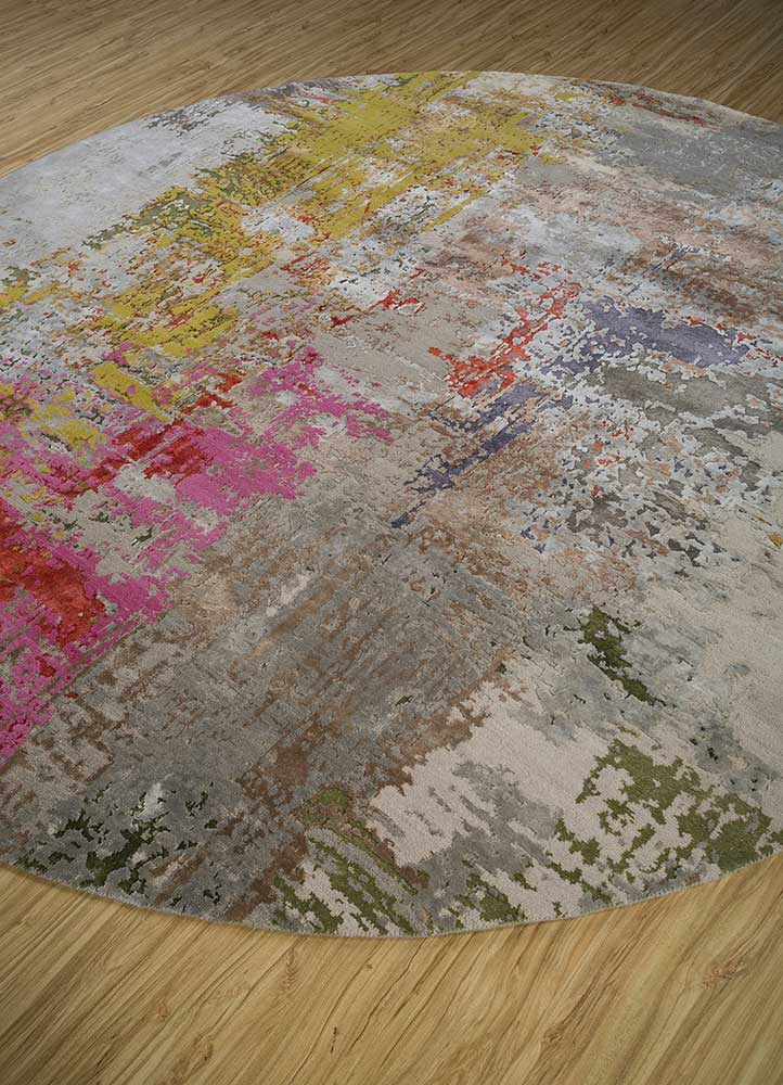 project error by kavi grey and black wool and bamboo silk hand knotted Rug - FloorShot
