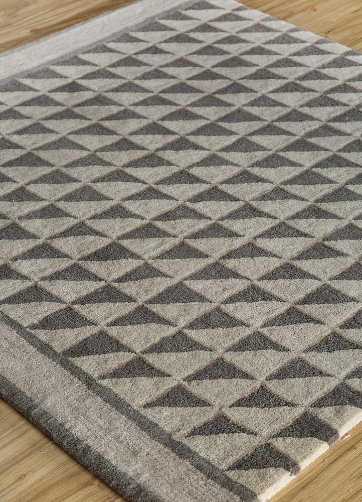 contour grey and black wool hand tufted Rug - FloorShot