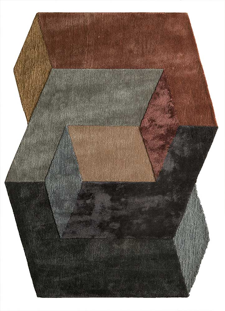 TNQ-1103 Charcoal Slate/Brick Red grey and black wool and viscose hand tufted Rug