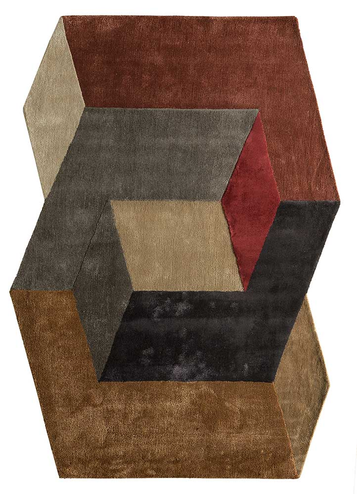 TNQ-1103 Ginger Brown/Caviar red and orange wool and viscose hand tufted Rug