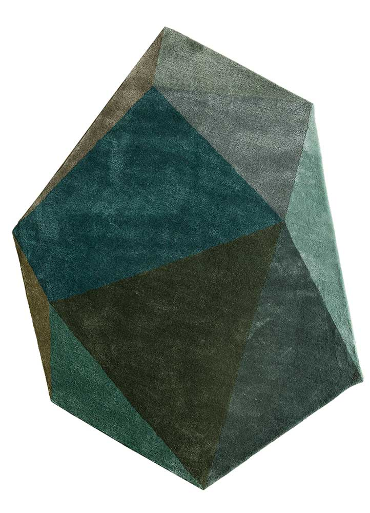 TNQ-1104 Pine Needle/Peacock Blue green wool and viscose hand tufted Rug