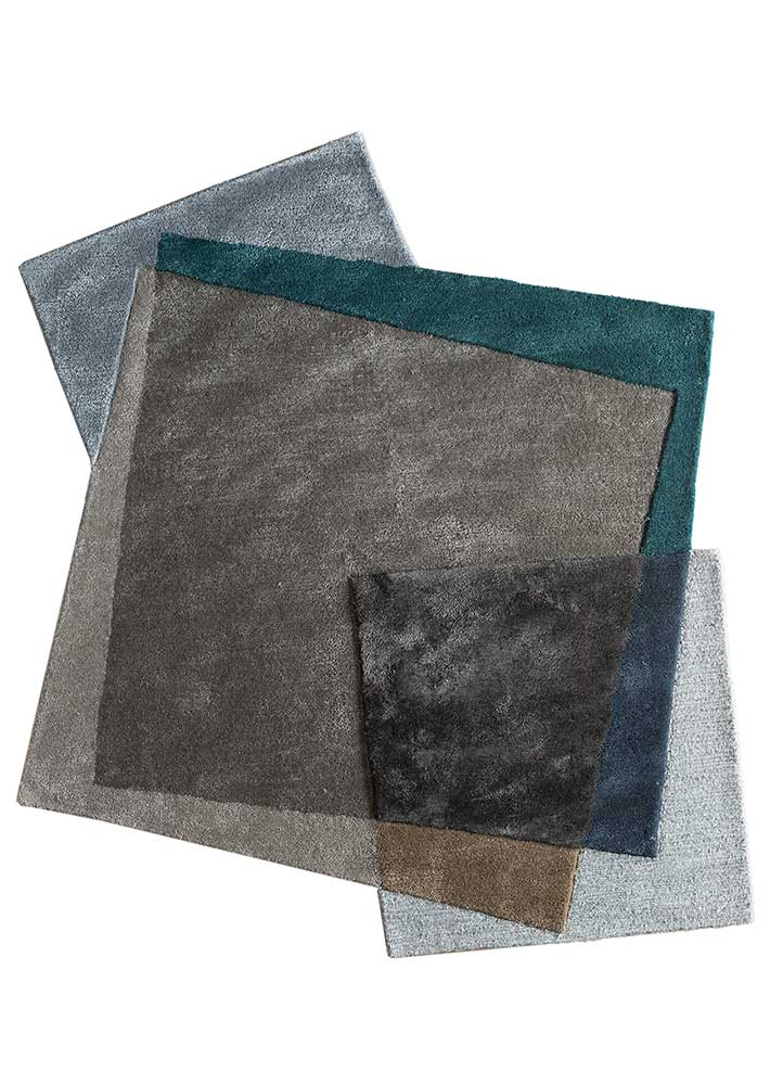 come around grey and black wool and viscose hand tufted Rug - HeadShot