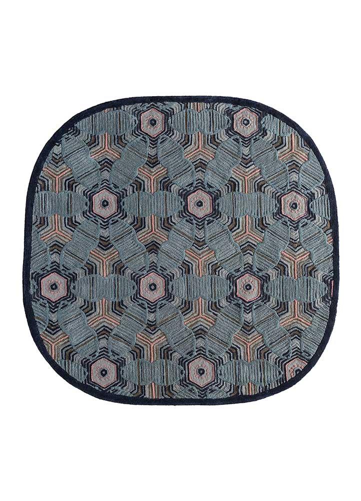 jaipur wunderkammer blue wool and viscose hand tufted Rug - HeadShot