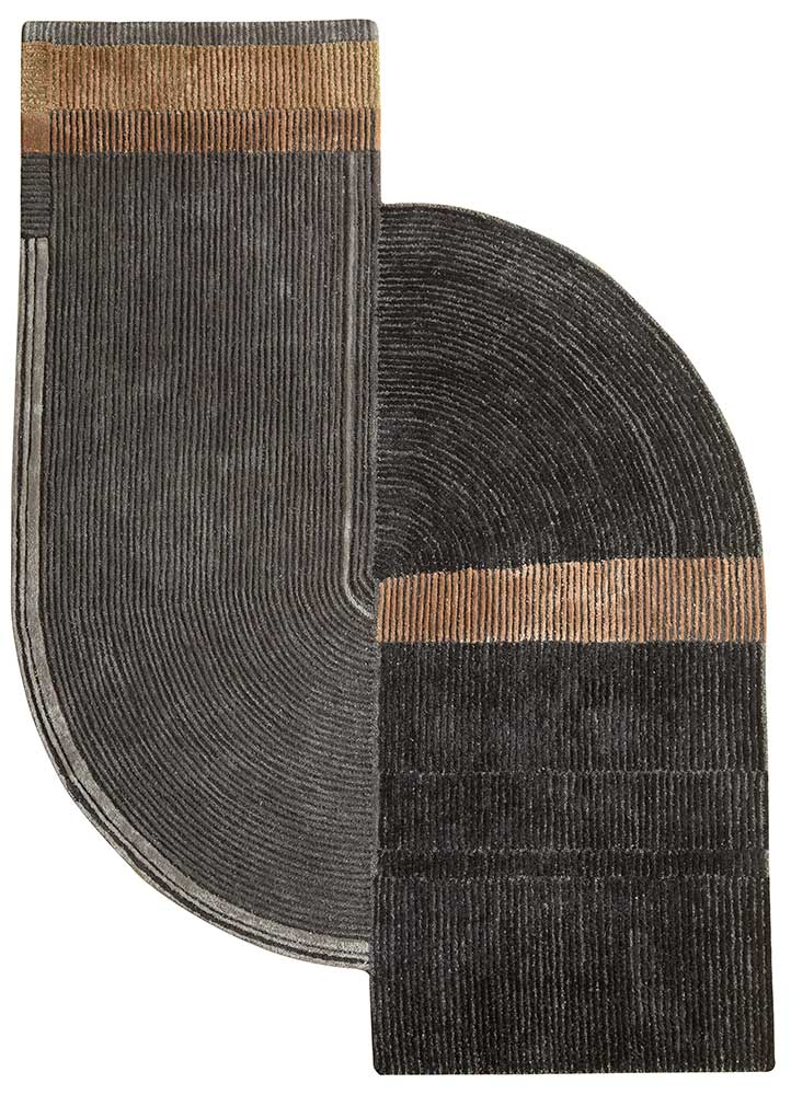 come around blue wool and viscose hand tufted Rug - HeadShot