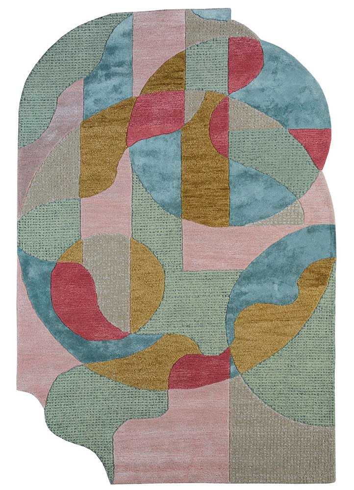 traverse pink and purple wool and viscose hand tufted Rug - HeadShot