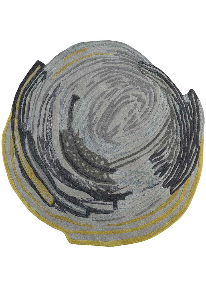 traverse grey and black wool and viscose hand tufted Rug - HeadShot