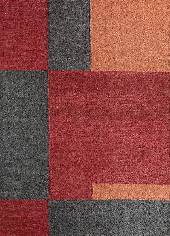 heritage red and orange wool and bamboo silk flat weaves Rug - HeadShot