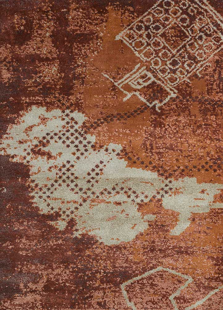 esme gold wool and bamboo silk hand knotted Rug - HeadShot