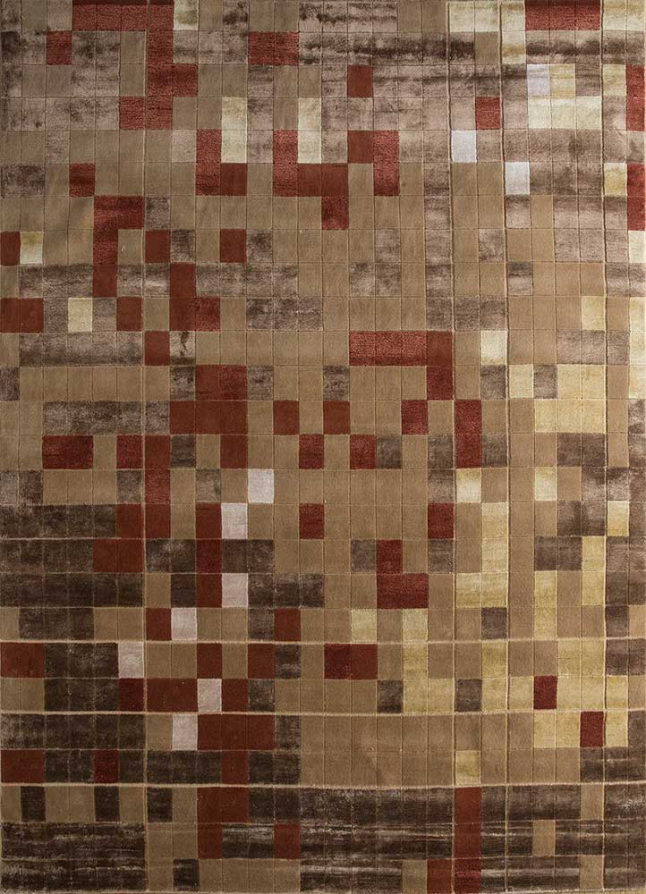 AKWB-3501 Light Peach/Peach Carnation beige and brown wool and bamboo silk hand knotted Rug