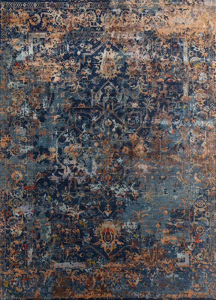far east blue wool and bamboo silk hand knotted Rug - HeadShot
