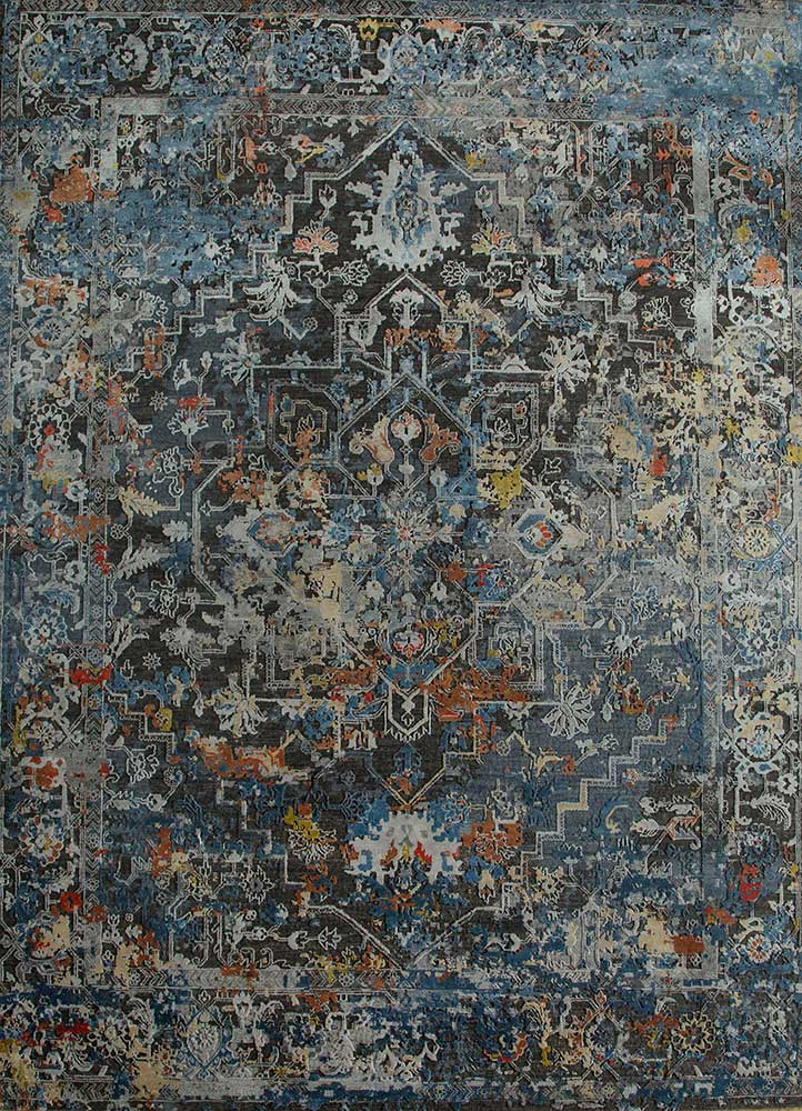 AKWB-3507 Liquorice/BlueBell grey and black wool and bamboo silk hand knotted Rug