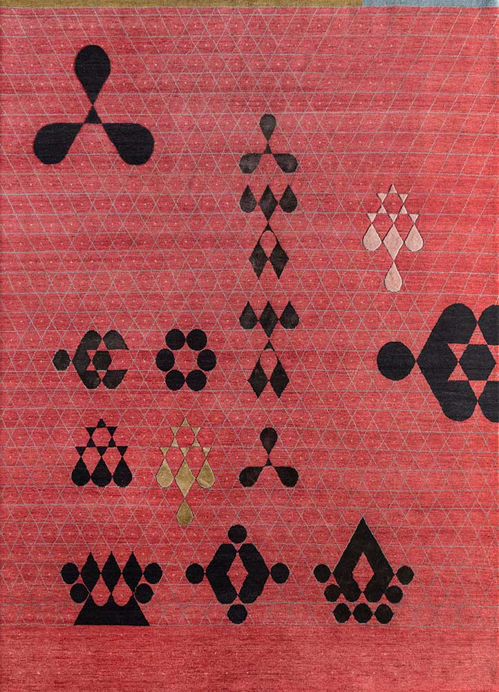 AKWB-7001 Classic Red/Caviar red and orange wool and bamboo silk hand knotted Rug