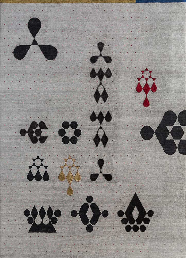 kolam grey and black wool and bamboo silk hand knotted Rug - HeadShot