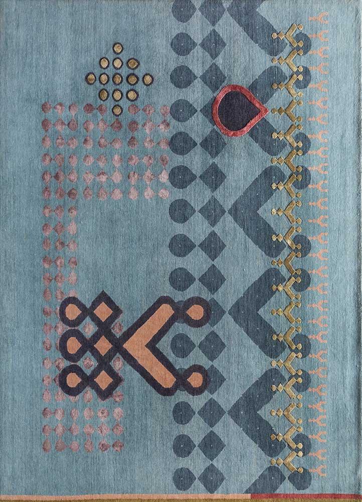 kolam blue wool and bamboo silk hand knotted Rug - HeadShot
