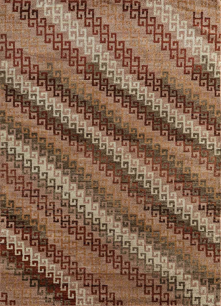 AKWL-1502 Texas Rose/Red Ochre red and orange wool hand knotted Rug