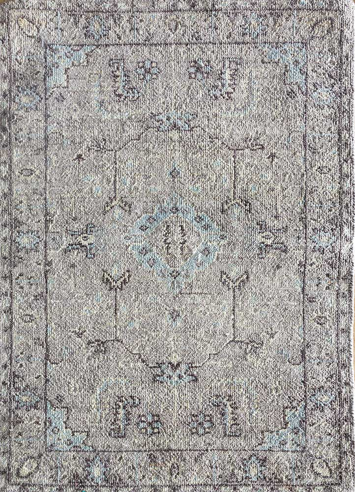 EA-3004 Classic Gray/Blue Blush grey and black wool hand knotted Rug