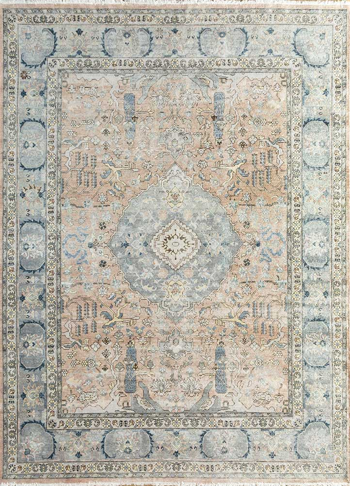 EA-3006 Light Coral/Medium Taupe red and orange wool hand knotted Rug