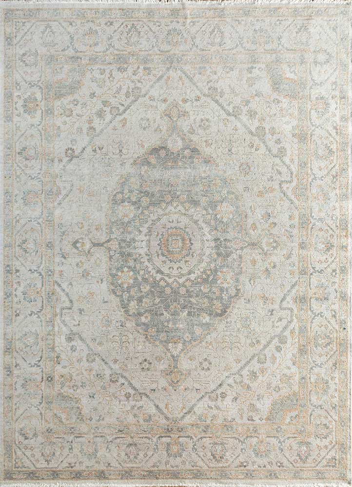 someplace in time blue wool hand knotted Rug - HeadShot