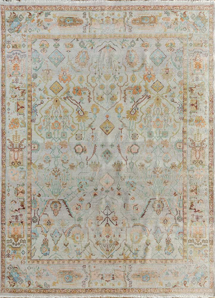 someplace in time ivory wool hand knotted Rug - HeadShot