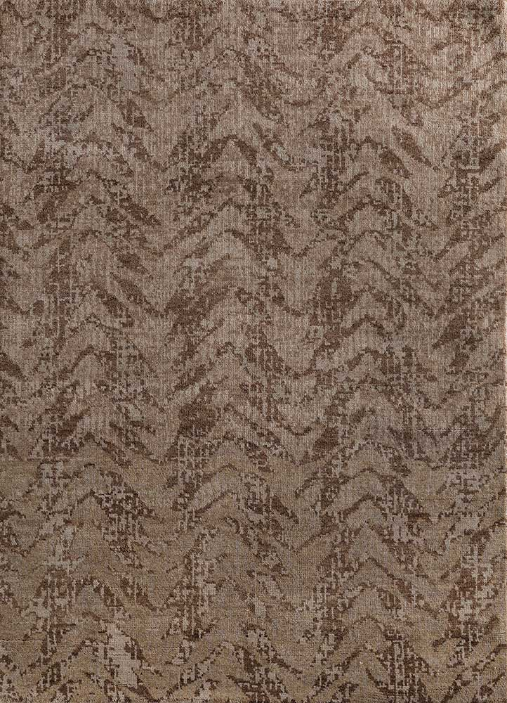 cleo beige and brown wool hand knotted Rug - HeadShot