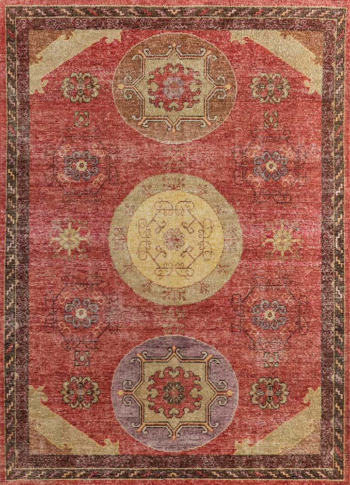 liberty red and orange wool hand knotted Rug - HeadShot