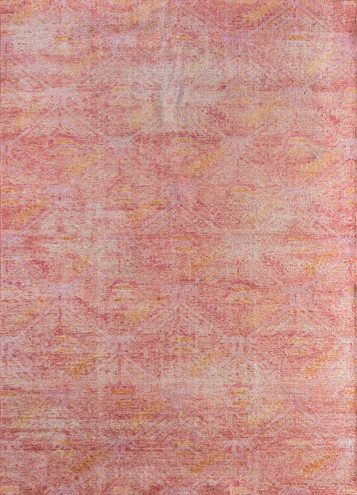 GS-7007 Fiery Red/Deco Rose red and orange wool hand knotted Rug