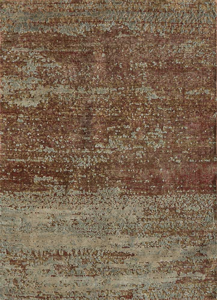 memoir red and orange wool and silk hand knotted Rug - HeadShot