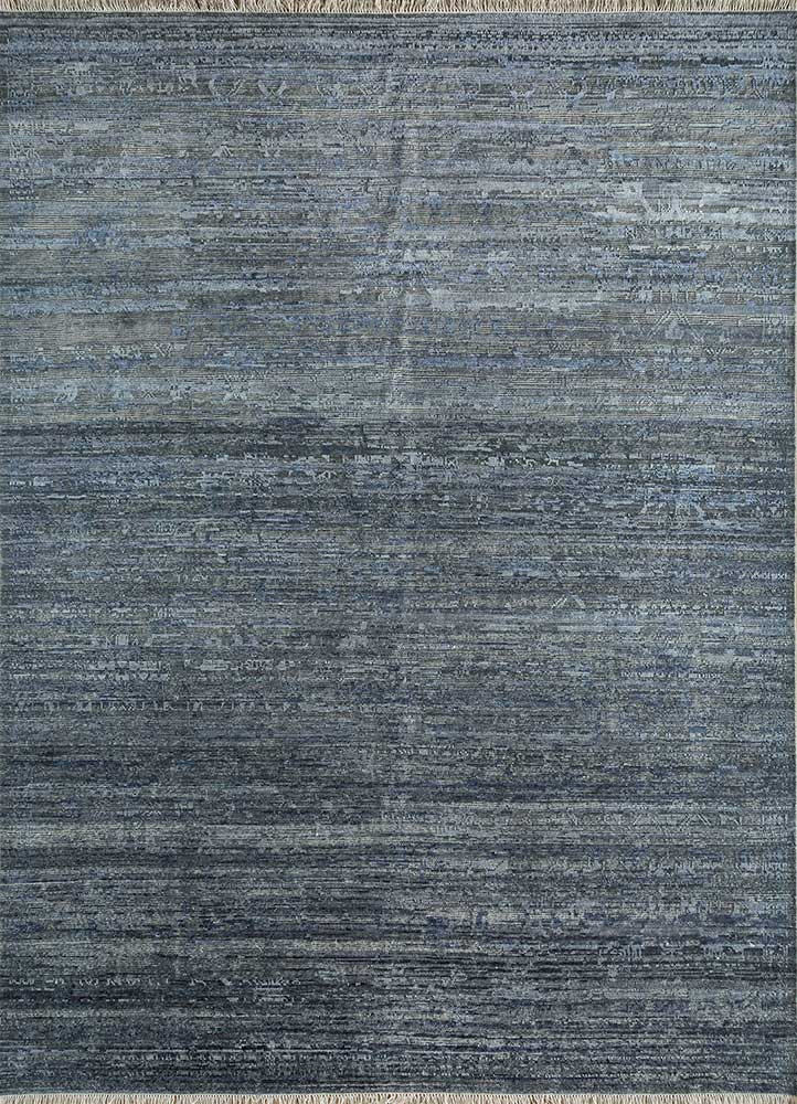 legion blue wool and silk hand knotted Rug - HeadShot