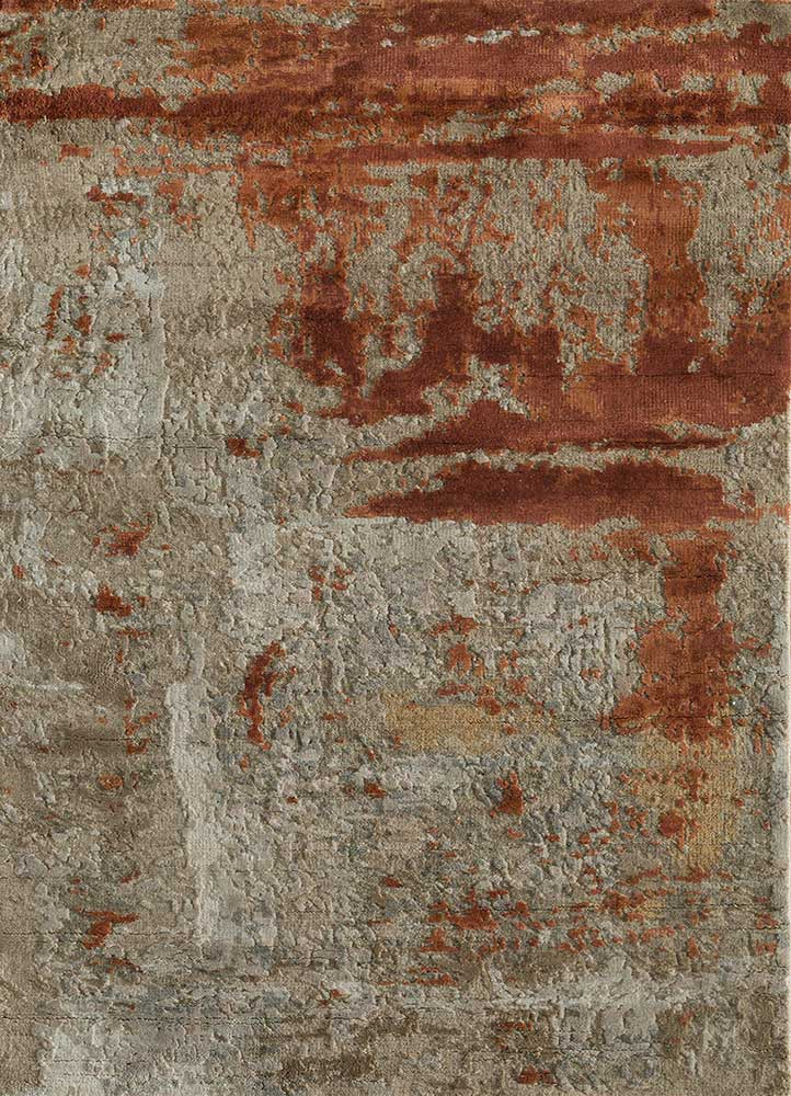 AKWS-3004 Dark Taupe/Light Rust grey and black wool and silk hand knotted Rug