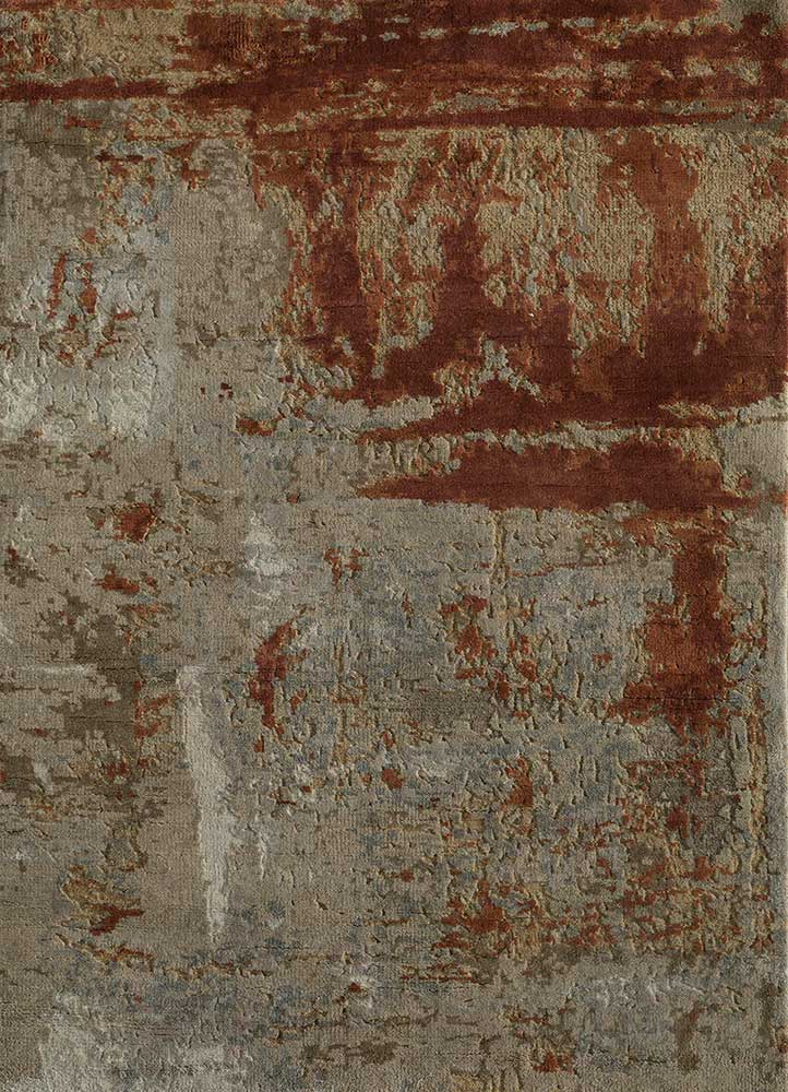 erbe beige and brown wool and silk hand knotted Rug - HeadShot