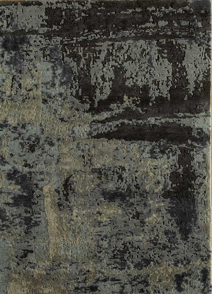 AKWS-3004 Grey Matter/Pearl Blue blue wool and silk hand knotted Rug