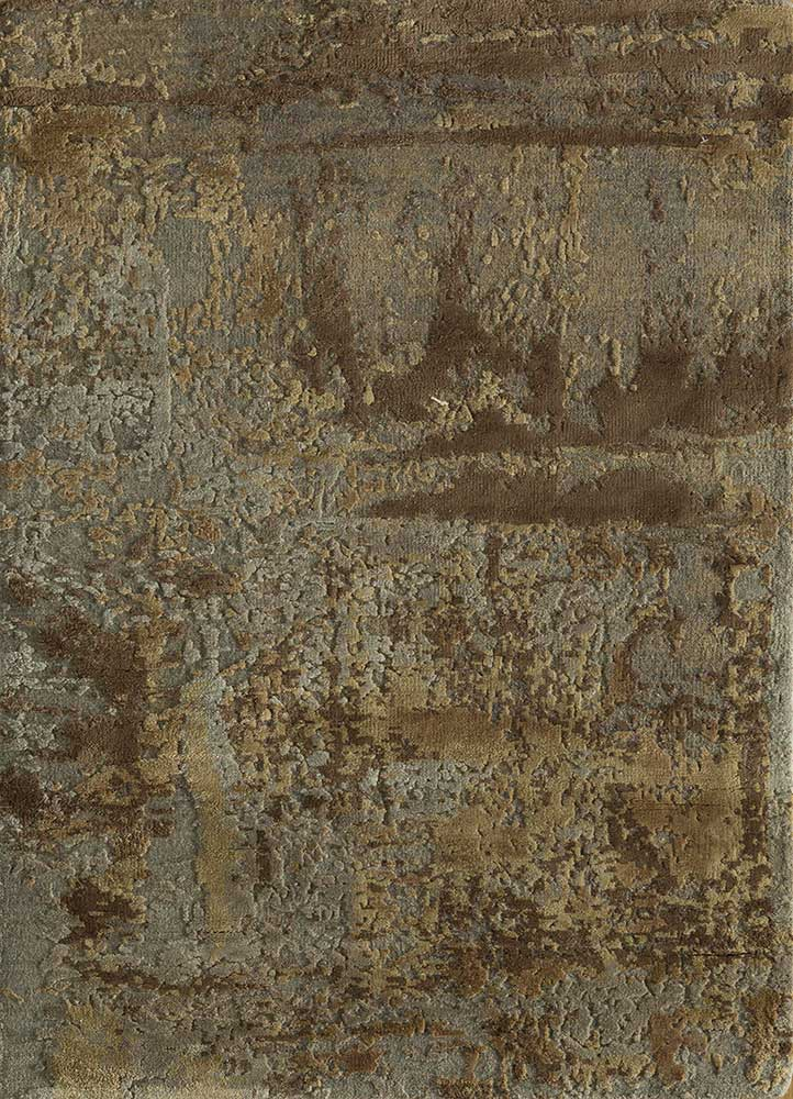 AKWS-3004 Ashwood/Honey grey and black wool and silk hand knotted Rug