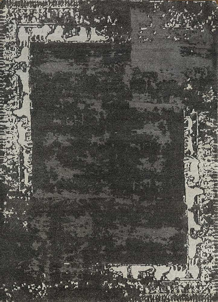 eden grey and black wool hand knotted Rug - HeadShot