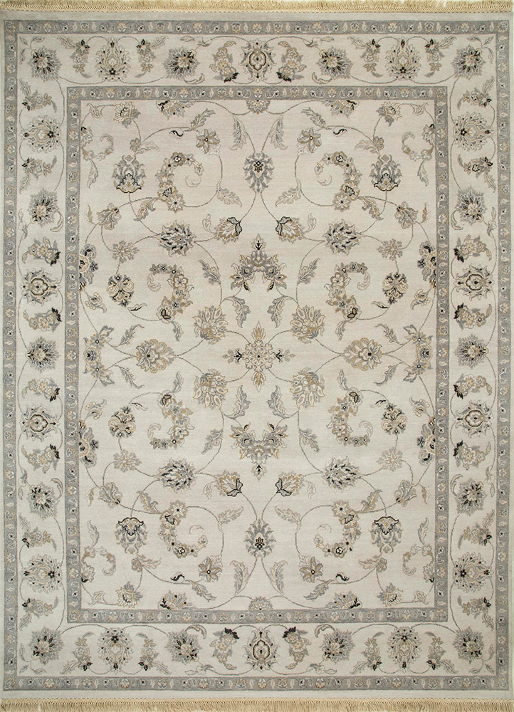 BT-32 Antique White/Antique White ivory wool hand knotted Rug