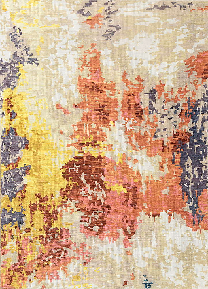 esme beige and brown polyester hand knotted Rug - HeadShot