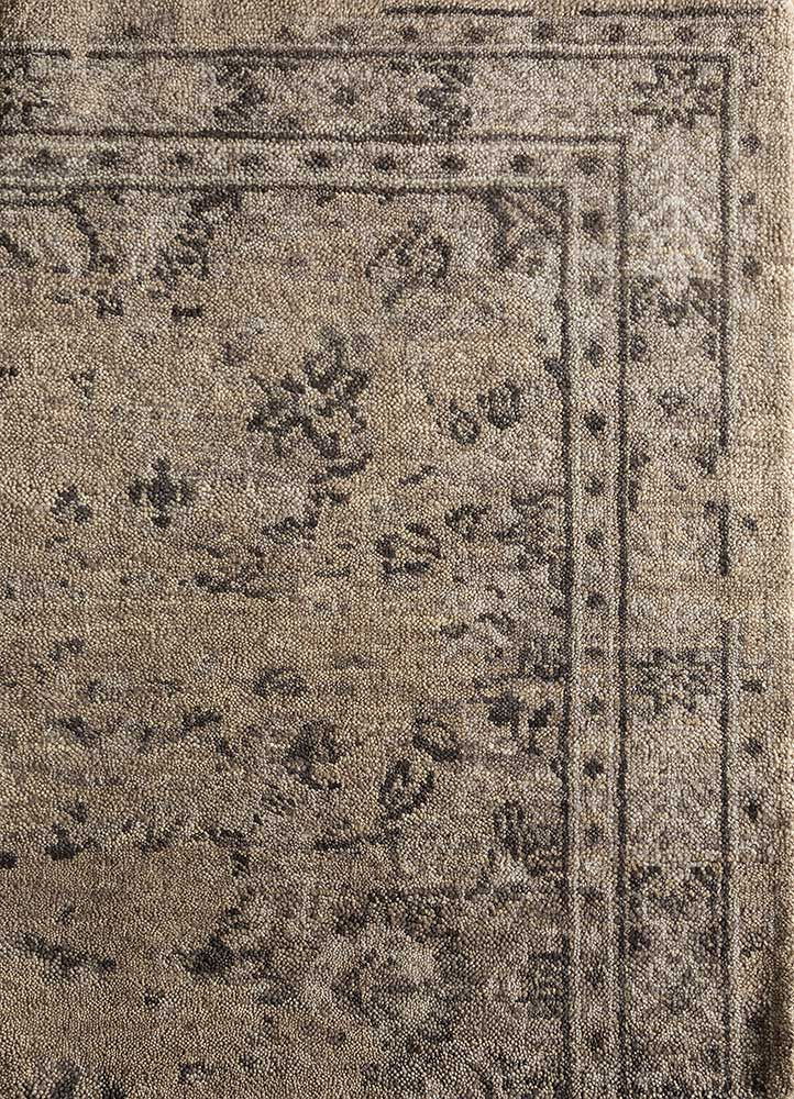 CX-2797 Warm Taupe/Dark Gray beige and brown wool hand knotted Rug