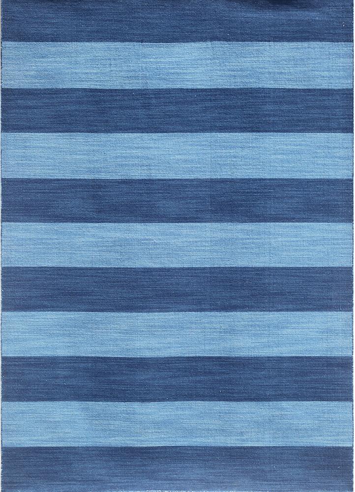 DR-125 Evening Blue/Bermuda Blue blue wool flat weaves Rug