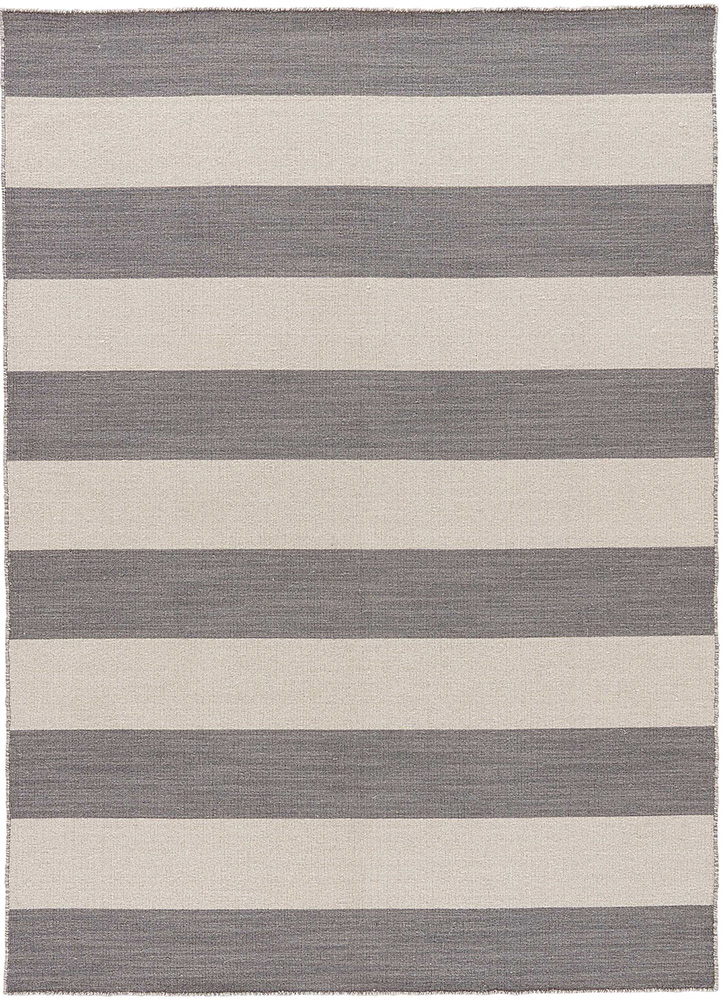 DR-125 Stone Gray/White Ice grey and black wool flat weaves Rug