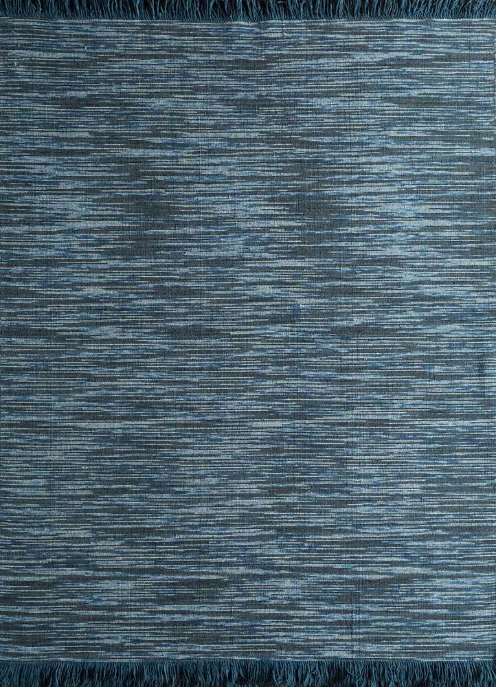 abrash blue wool flat weaves Rug - HeadShot
