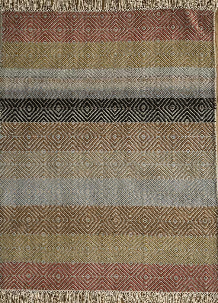 kaross red and orange wool flat weaves Rug - HeadShot
