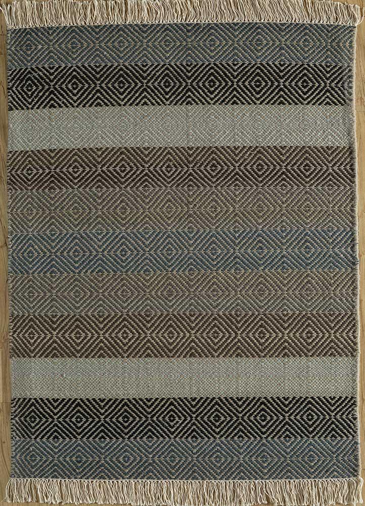 kaross grey and black wool flat weaves Rug - HeadShot