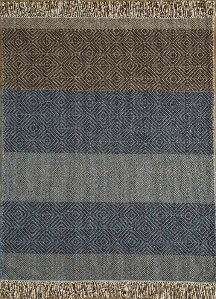 kaross beige and brown wool flat weaves Rug - HeadShot